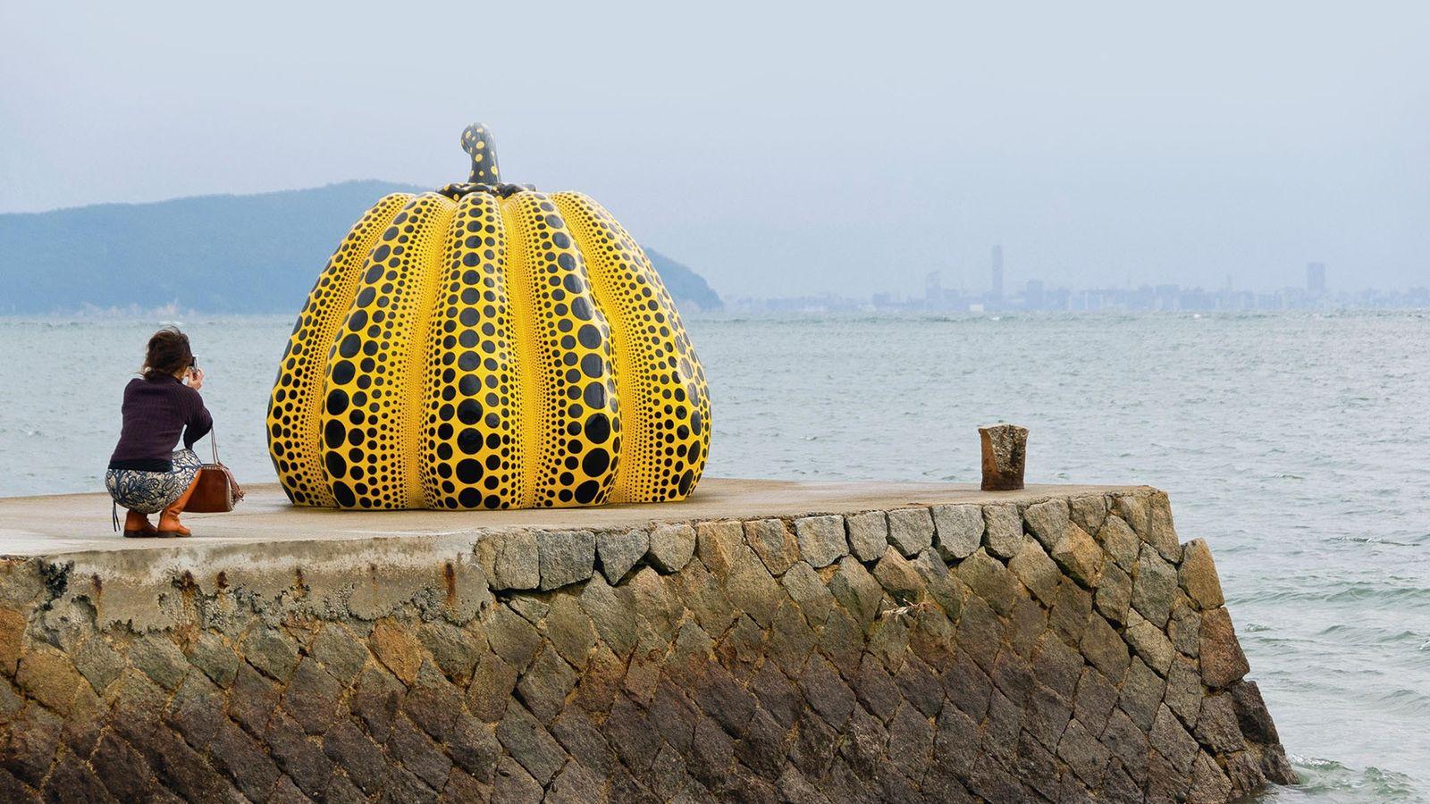 Yayoi Kusama's Yellow Pumpkin scultpure, Naoshima Island