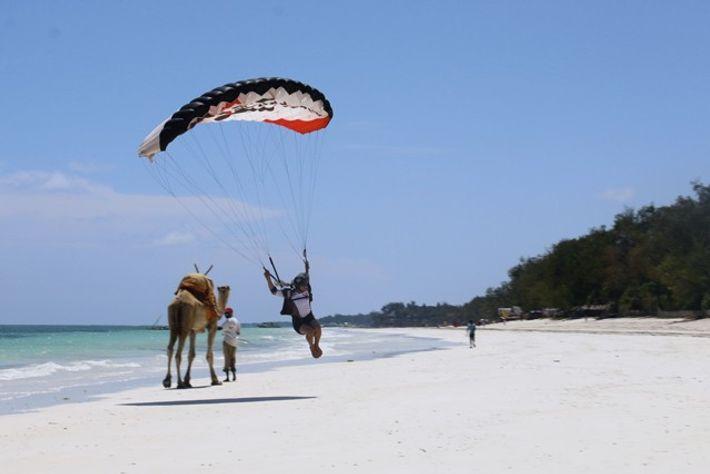 Skydiving in Kenya.