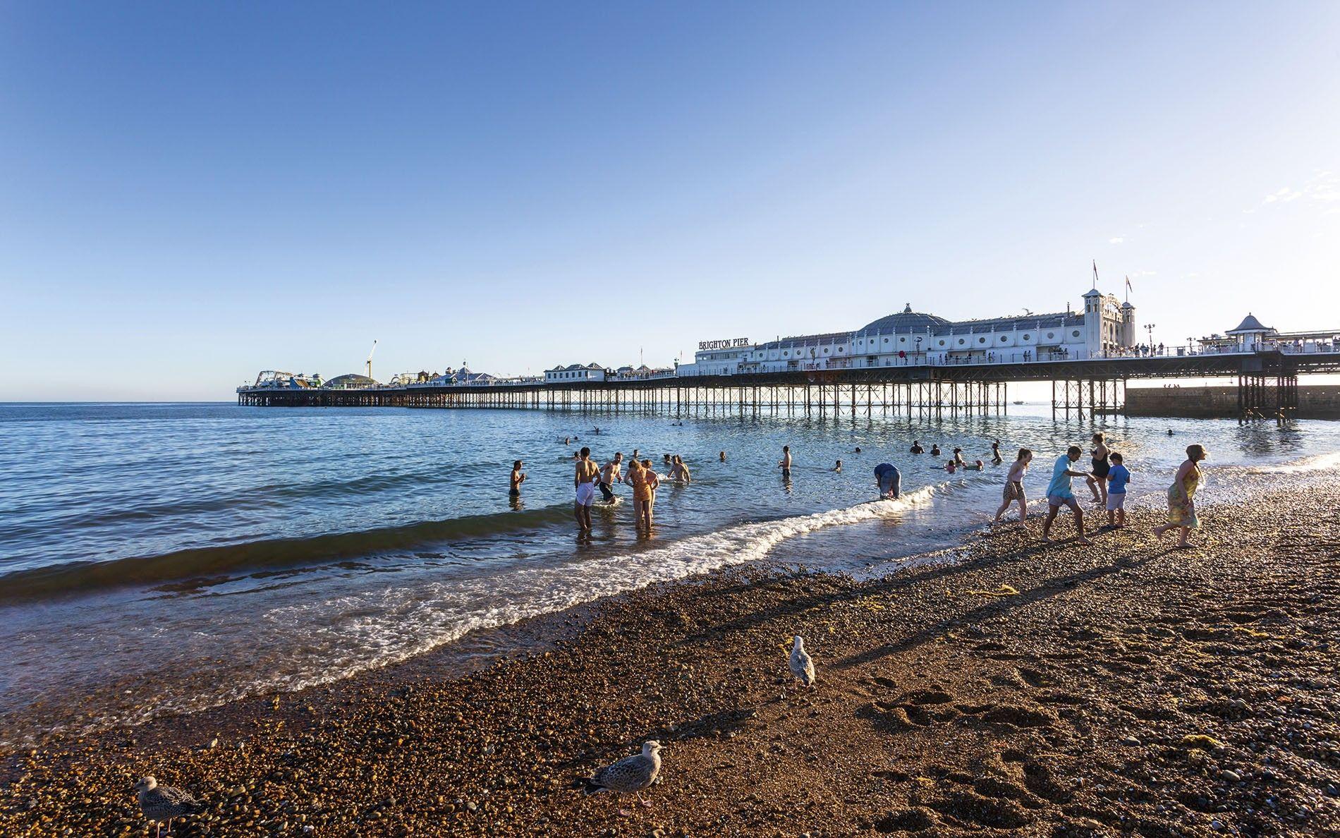 Brighton Palace Pier and beach.
