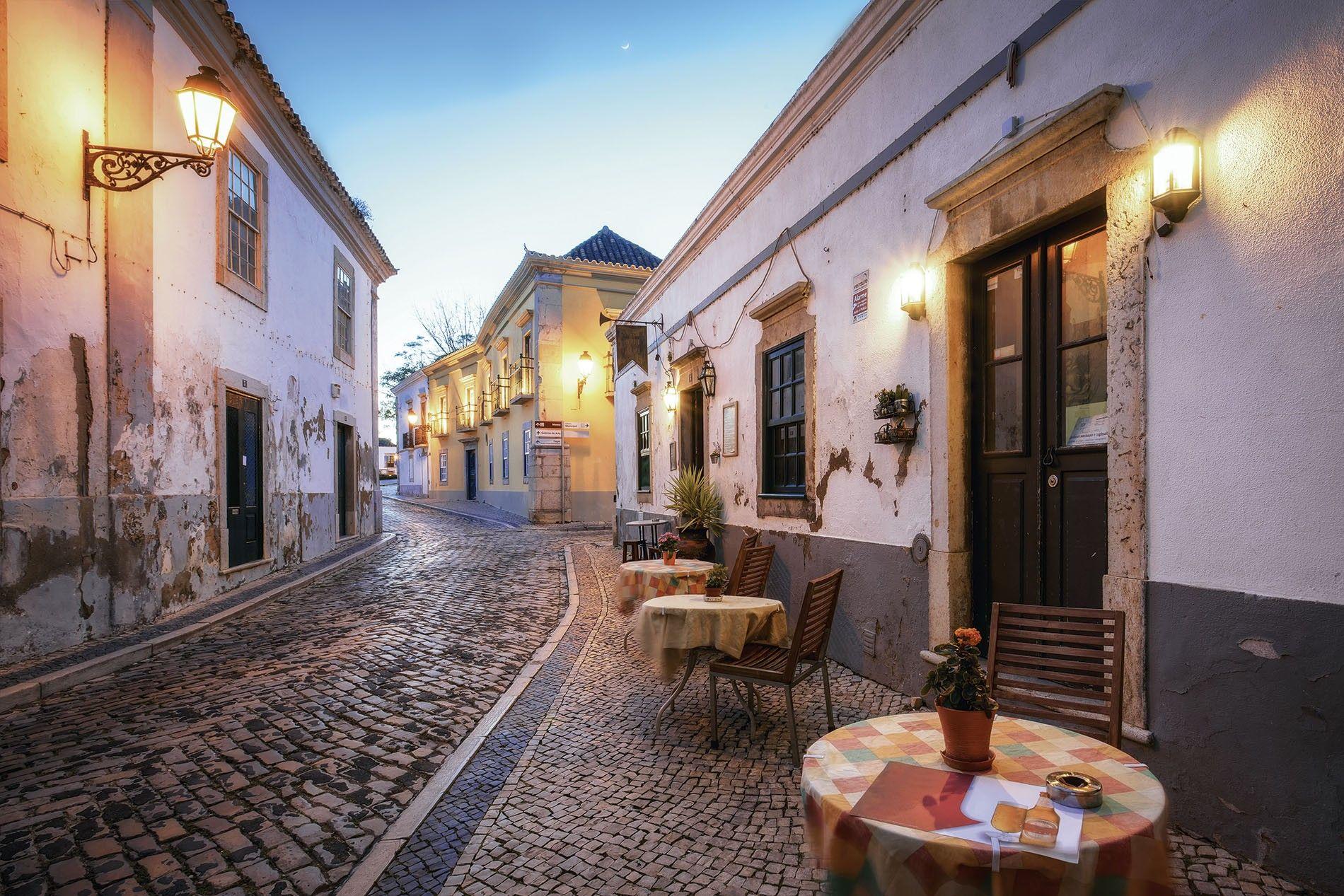 Cafe in Faro Old Town, Algarve.