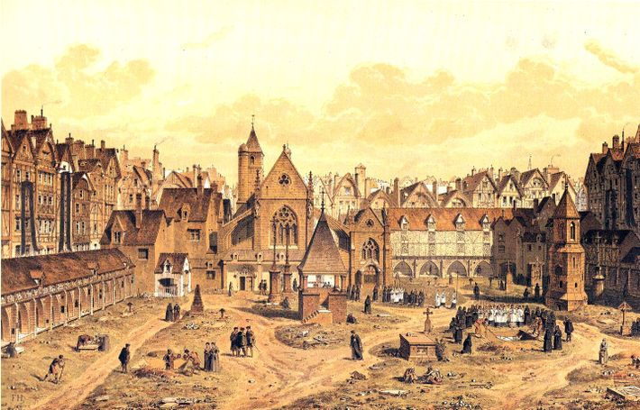 Le Cimetière des Saint-Innocents in around 1550, as visualised by artist Fedor Hoffbauer and published in ...