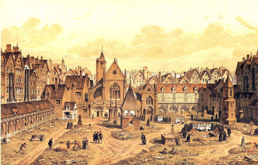 Le Cimetière des Saint-Innocents in around 1550, as visualised by artist Fedor Hoffbauer and published in the book 'Paris: à travers les âges' in the late 19th century. The charnel house for the bones is to the left: note the many skulls littered around the cemetery. Two hundred years later the situation was much worse.
