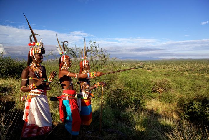 Samburu Warriors survey the north Kenyan landscape.