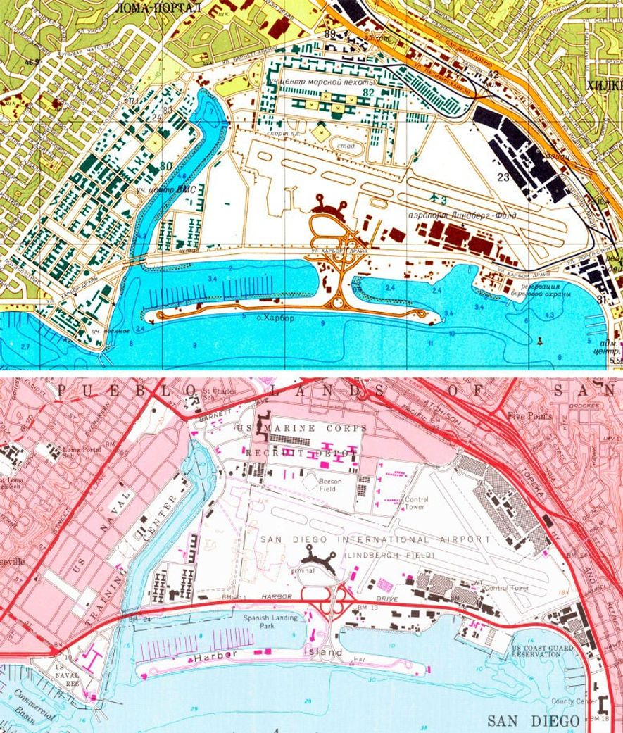 A Soviet map of San Diego from 1980 (top) shows the buildings at the U.S. Naval Training Center and Marine Corps Recruiting Depot in more detail than does the USGS map published in 1979 (bottom).