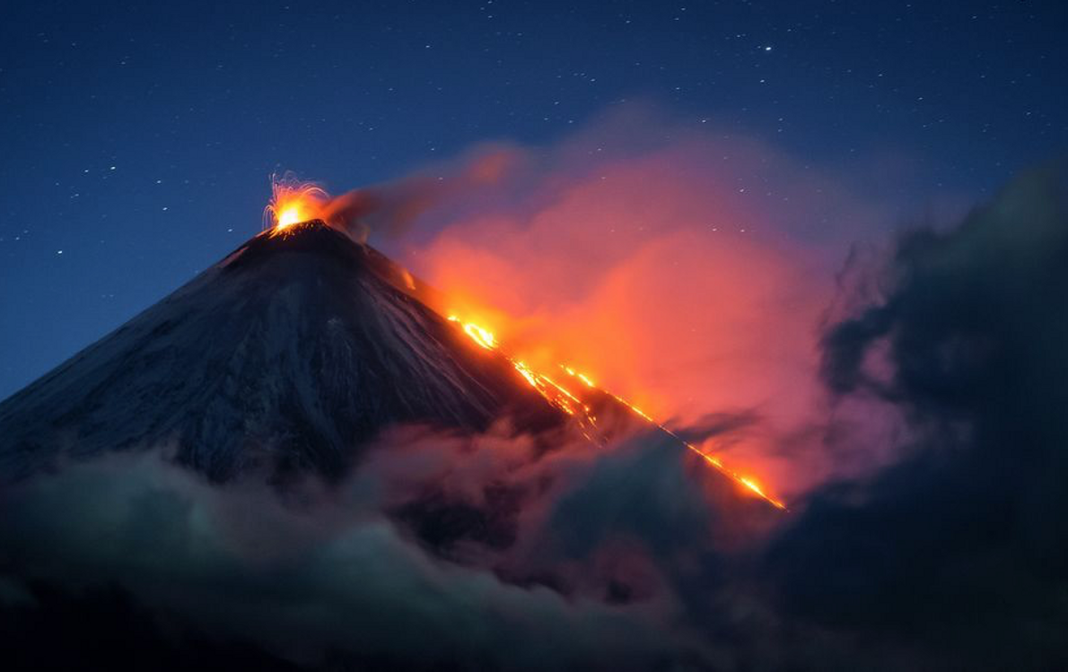 Klyuchevskaya Sopka is a volcano in Russia that stands more than 5,000 metres (15,000 feet) tall. ...
