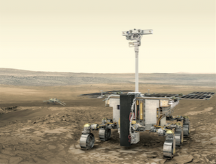 This is an artist's impression of the European Space Agency's ExoMars rover on Mars.