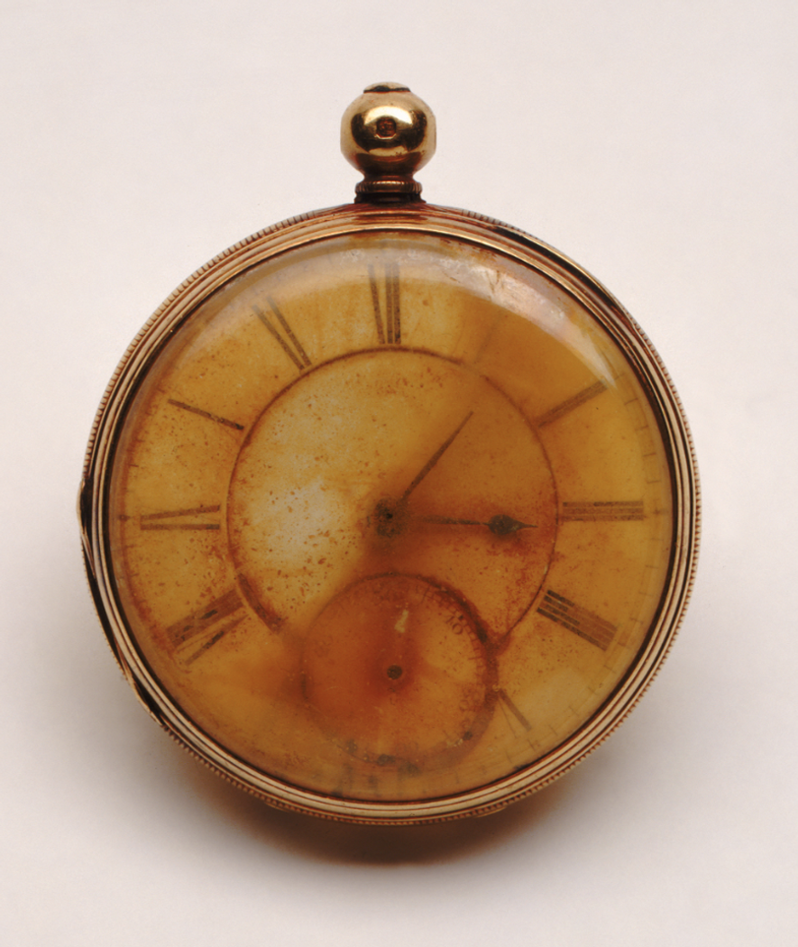 The pocket watch recovered from the body of Robert Douglas Morgan, Titanic passenger. The watch hands ...
