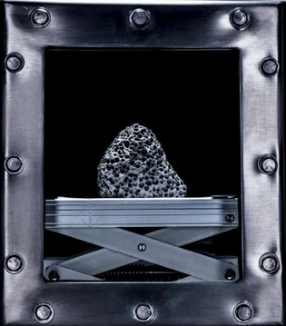 A sample of lunar rock, protected with flowing liquid nitrogen.