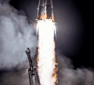 A Russian Soyuz rocket lifts off from Kazakhstan, 2019.
