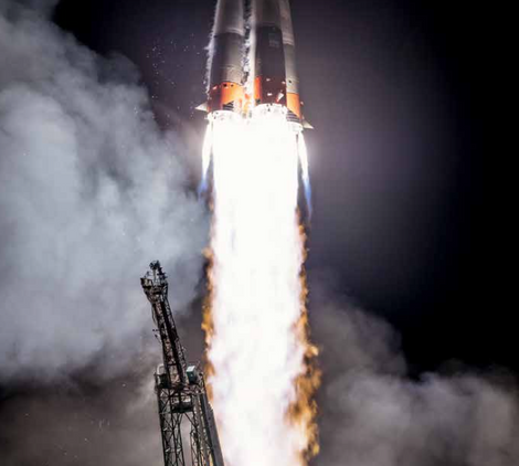 A Russian Soyuz rocket lifts off from Kazakhstan, 2019.