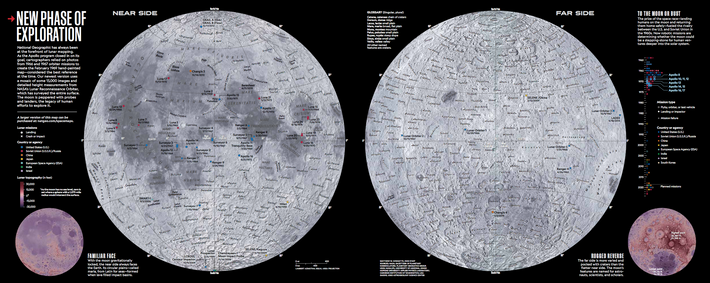 The July 2019 Edition of National Geographic includes a fold-out map of the moon created from ...