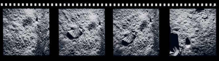 Footprints on the lunar surface, photographed by Buzz Aldrin. There is no wind on the moon: ...