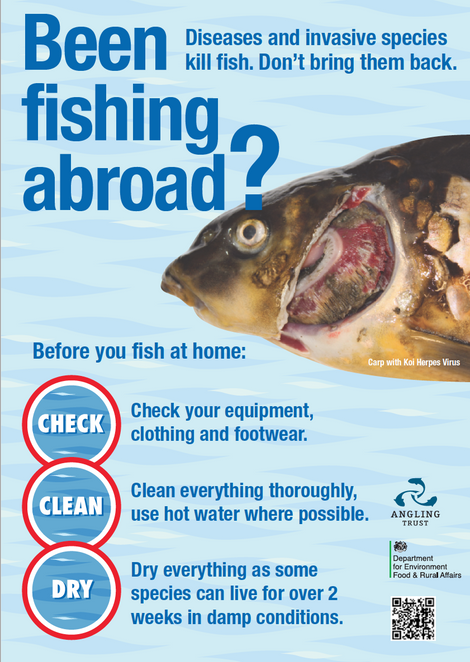 A poster designed to prompt biosecurity awareness amongst anglers abroad of both contamination and invasives.