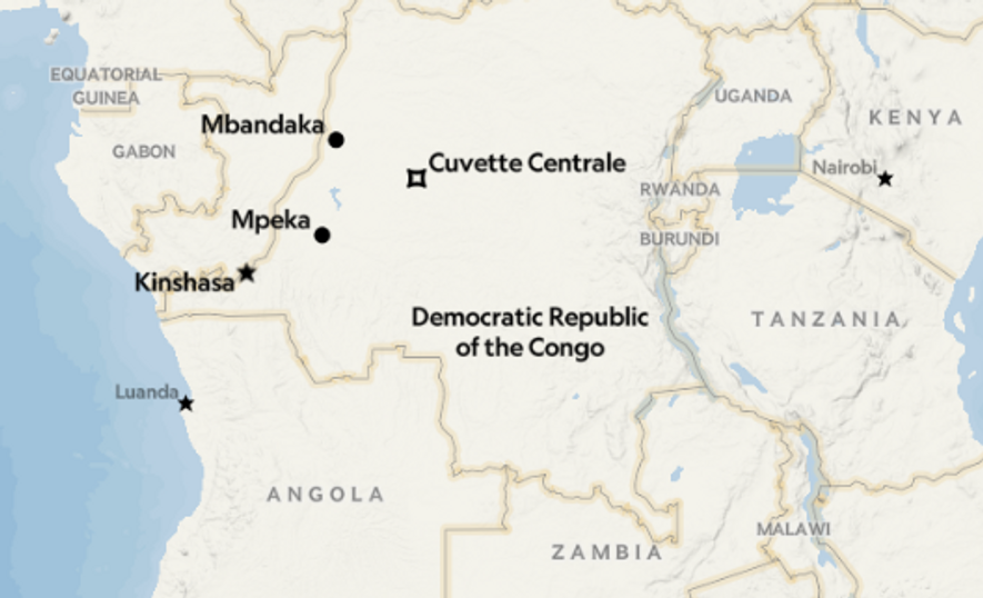 The location of the expedition in the DRC.