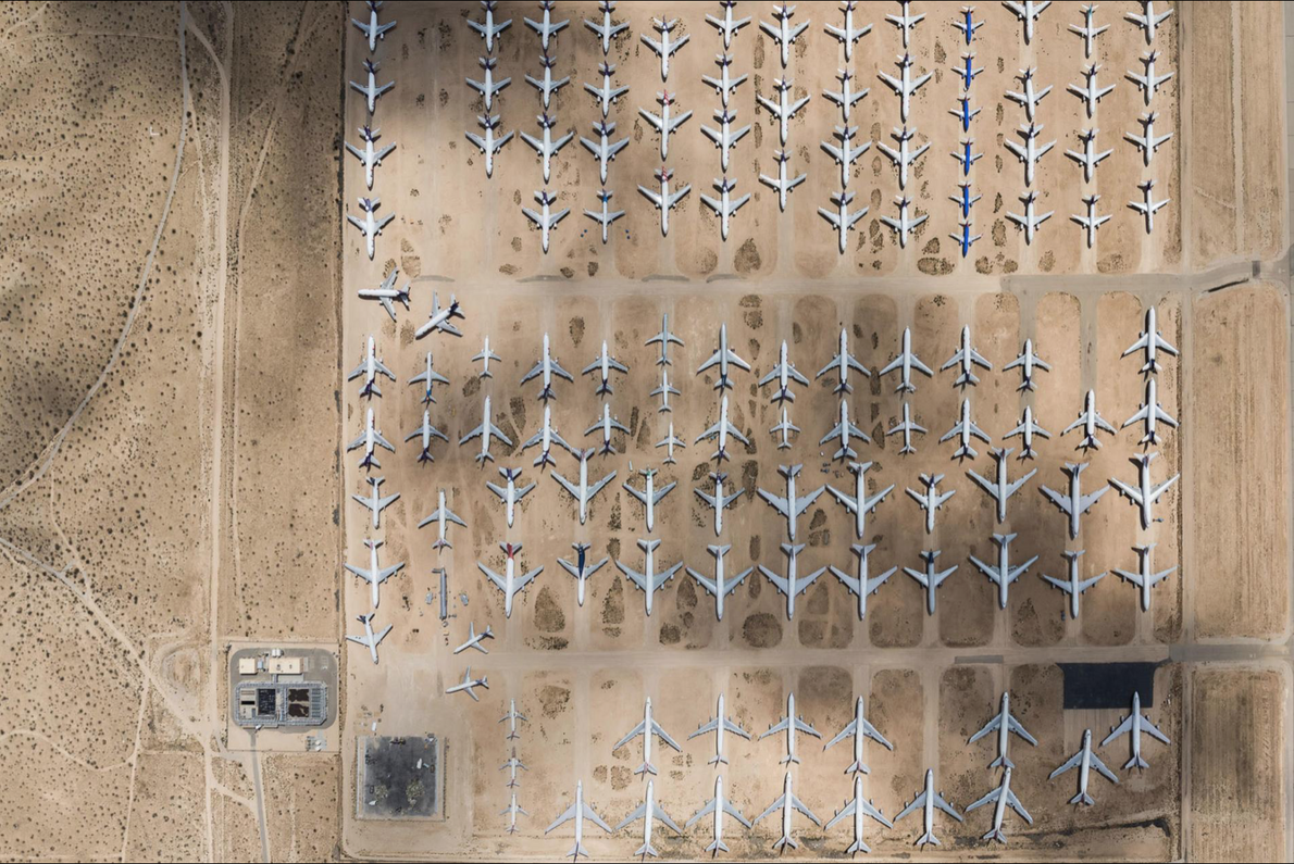 Aircraft align in storage in Victorville, California.