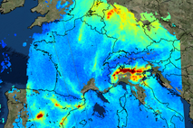 This images from the Copernicus Sentinel-5P mission shows nitrogen dioxide over Europe on 22 November 2017. ...