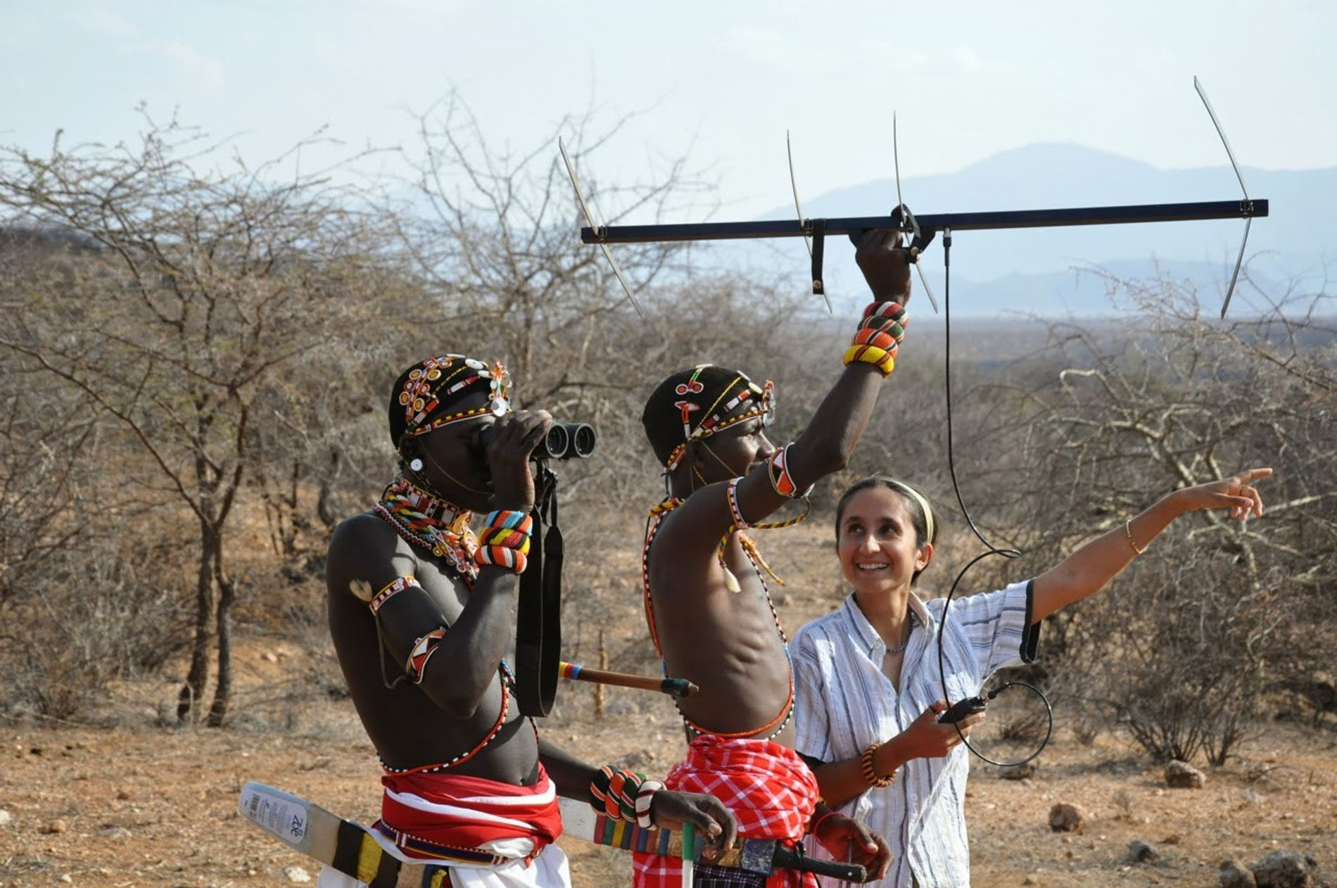 Shivani Bhalla tracking lions using GPS, with Samburu Warriors.