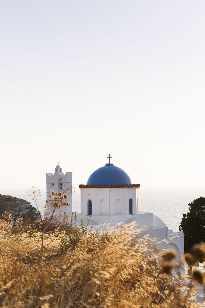 Panagia Poulati, one of the island's seven azure-domed churches, in the village of Kastro.