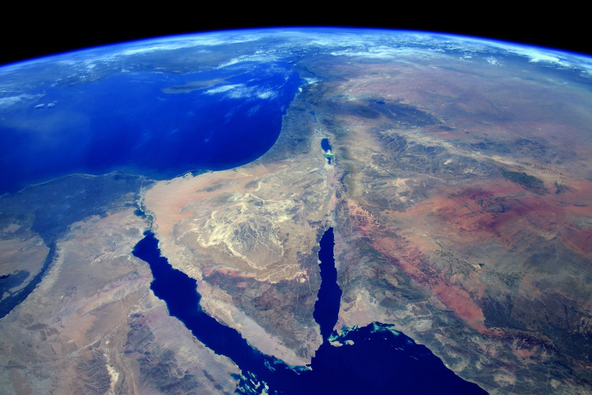 The rugged desert terrain of Egypt's Sinai Peninsula.