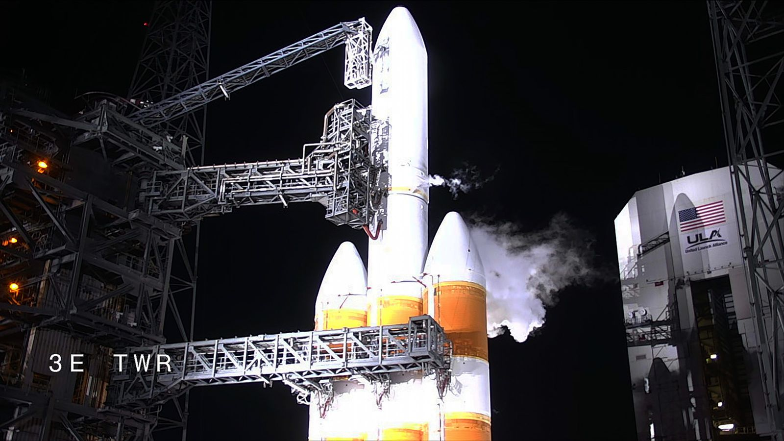 Liquid hydrogen and liquid oxygen propellant are loaded into the Delta IV Heavy rocket, the launch ...