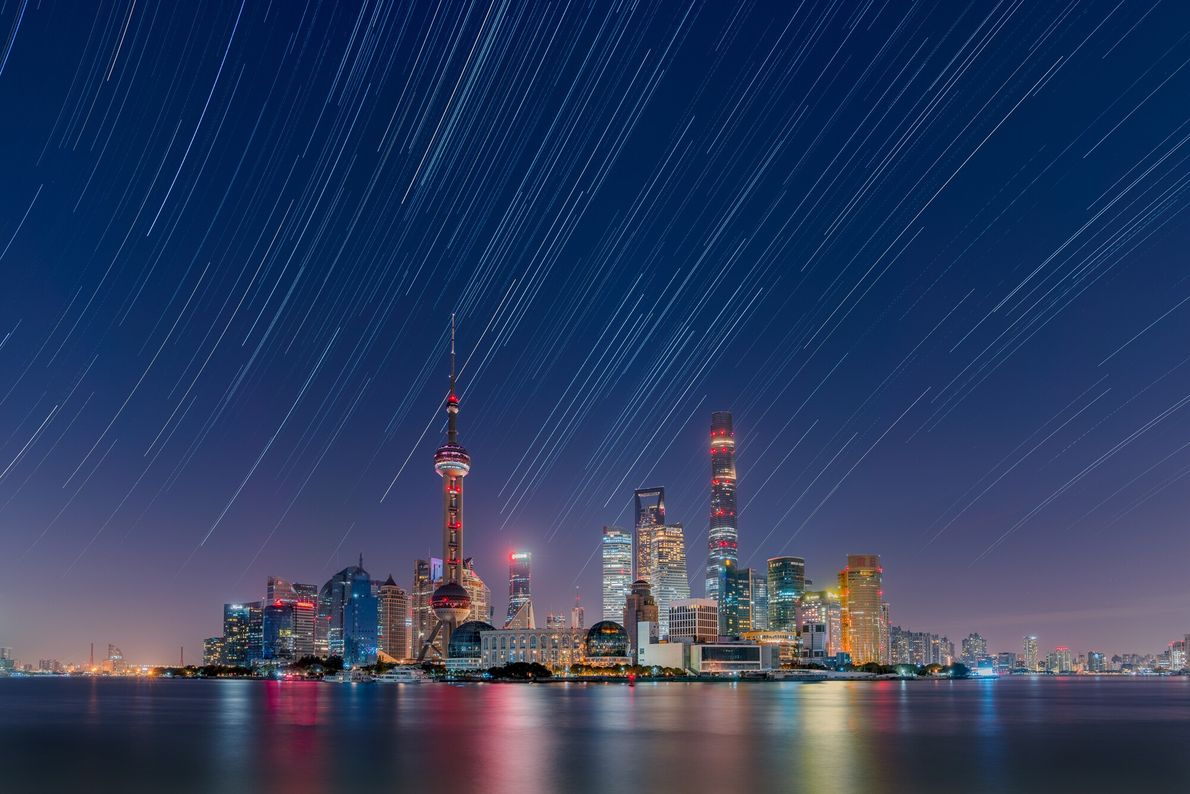 Captured on a very clear Autumn night, this affluent district of Shanghai is prone to light ...
