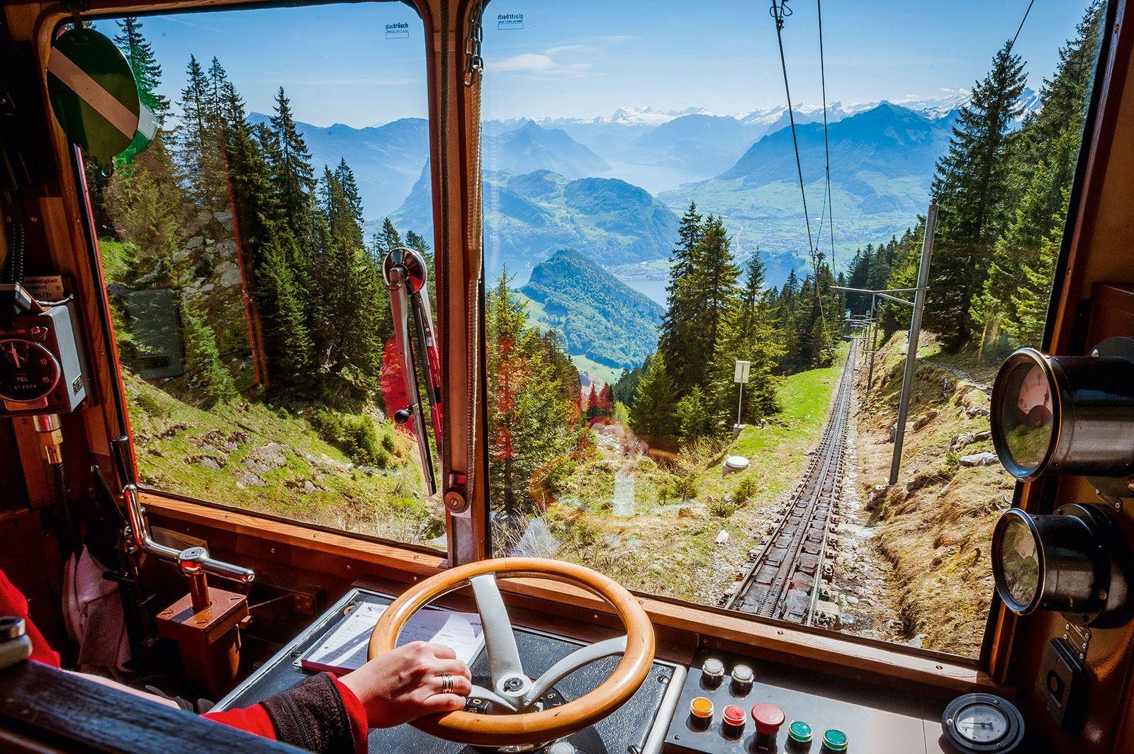 Cogwheel railway, Mount Pilatus, Switzerland