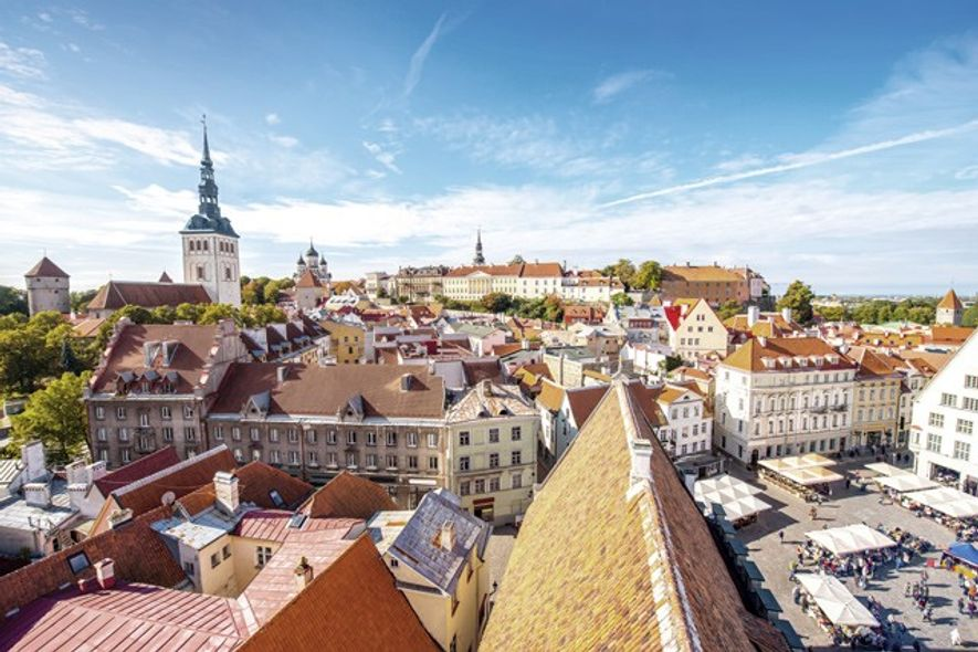An aerial view of Tallinn Old Town, including St Nicholas' Church tower and Toompea