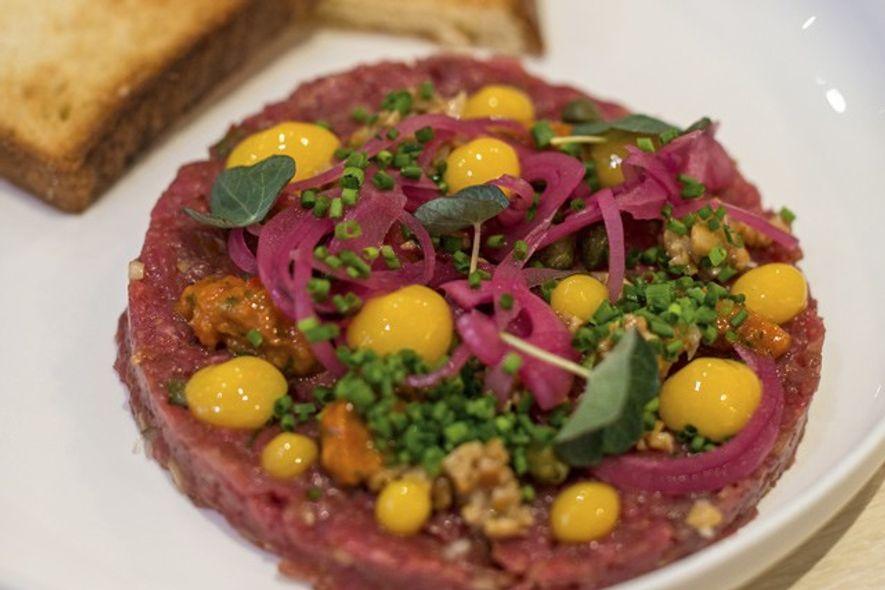 Steak tartare at Tallinn's popular Moon restaurant;