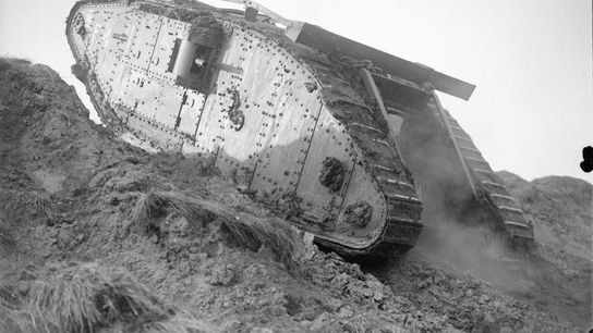 Tank F4 climbing a slope at the Tank Driving School during the special training for the ...