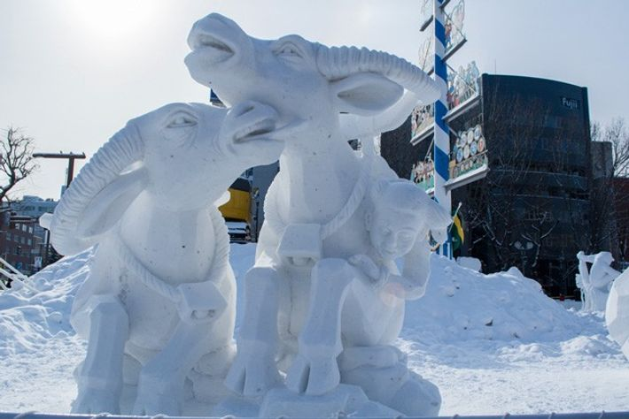 Snow sculptures.