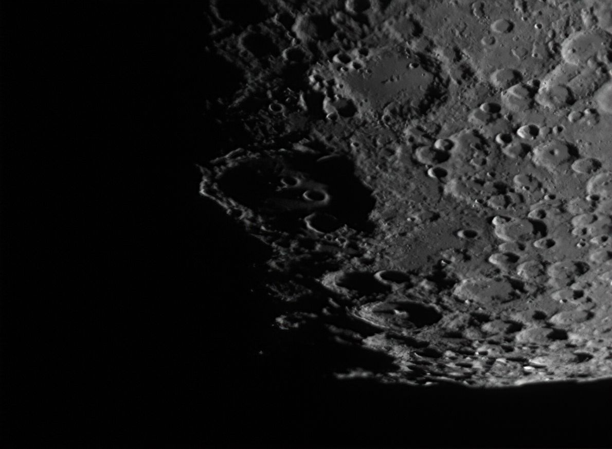 Photographed from Wimbledon, London and comprising some 3,000 stacked frames, this shot shows the crater Clavius ...