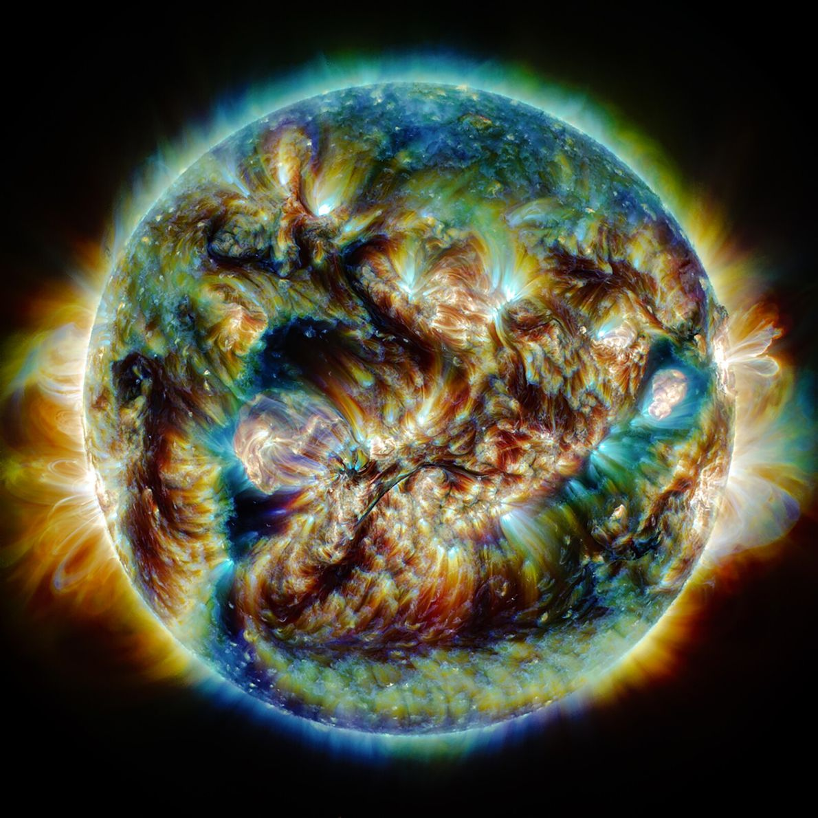 Using imagery from the Solar Dynamics Laboratory, the creator of this image wanted to demonstrate the ...