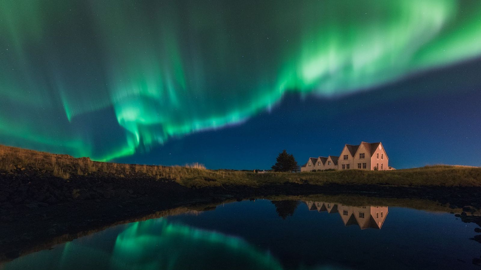 The Northern Lights over Thingvellir National Park, one of the best palces to spot them in ...
