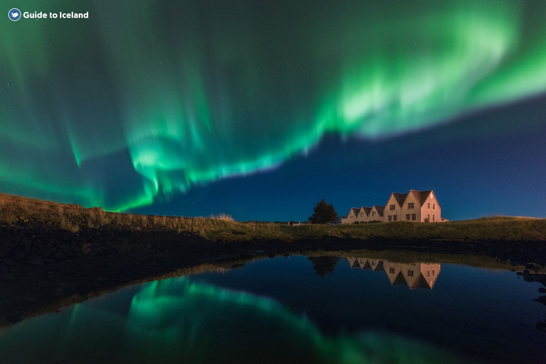 The Northern Lights over Thingvellir National Park, one of the best palces to spot them in Iceland.
