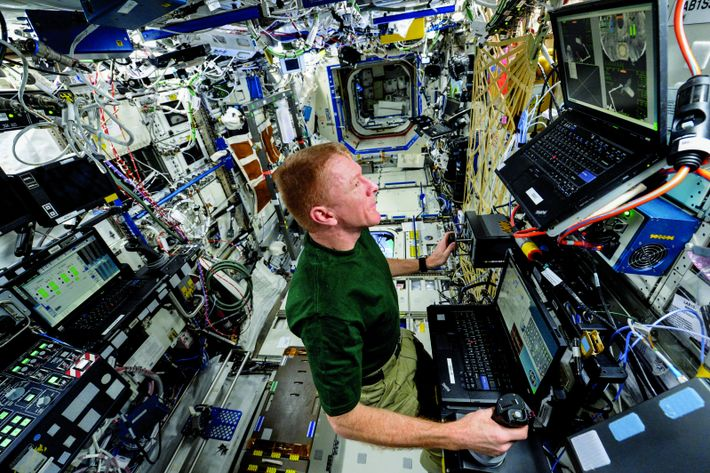 Tim Peake practises controlling the space station's robotic arm, which requires a minute degree of precision.