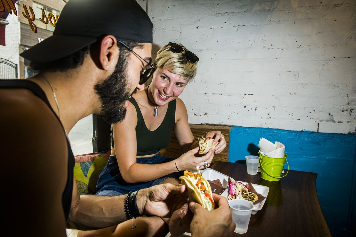 Seven Lives Tacos y Mariscos serves Baja-style tacos and seafood in a trendy Kensington Market storefront.