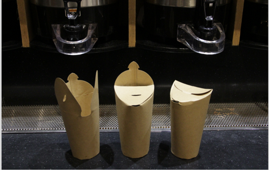 A new approach reveals that everyday items can be produced in a sustainable way. The Triocup is made from 100 percent compostable materials and its simple trifold lid design easily integrates into traditional coffee cup production methods.