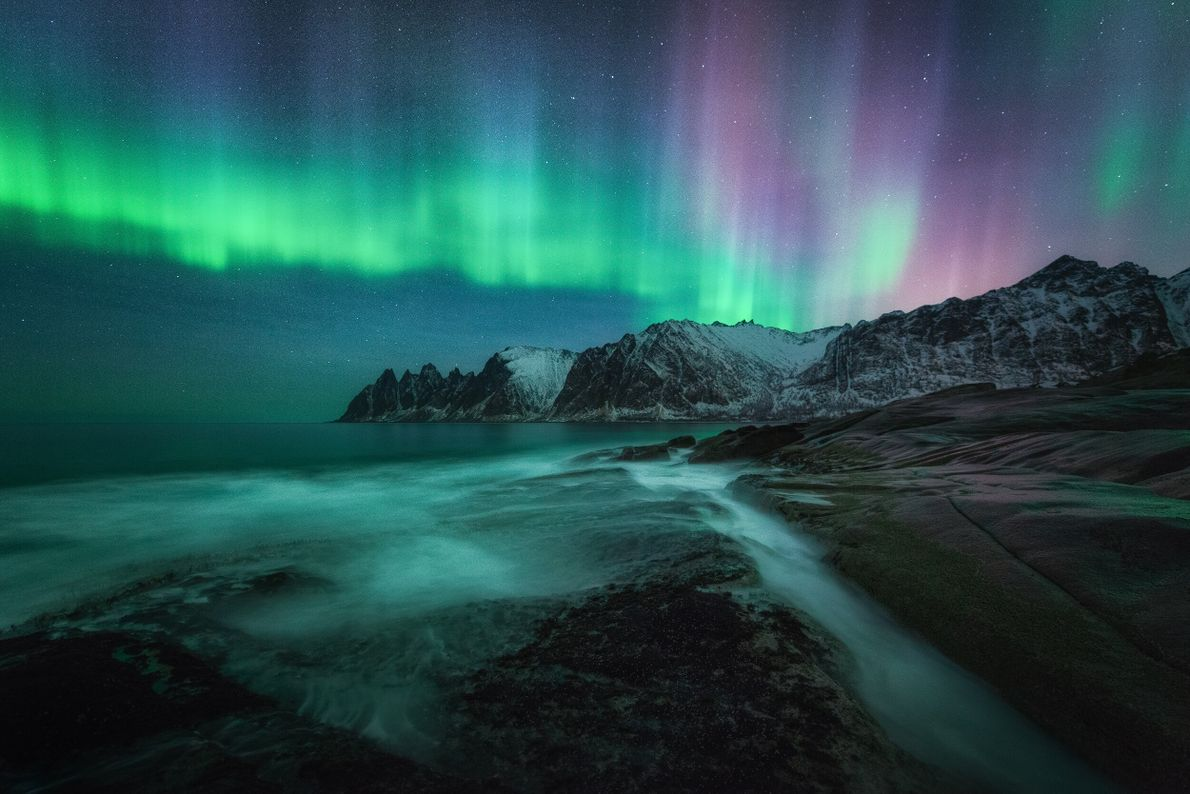 "The aurora borealis lights up Tungeneset, on Senja in the Lofoten archipelago. Stian Klo: ""That night the aurora was ..."