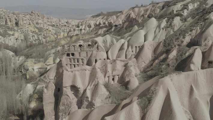 Turkey: the unique landscape of Cappadocia was formed from a volcanic ruin, where harder basalt rock ...