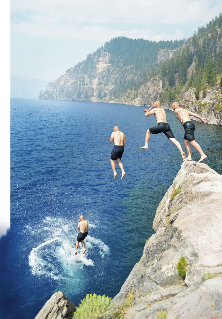 Leaping into a crater lake, Crater Lake National Park