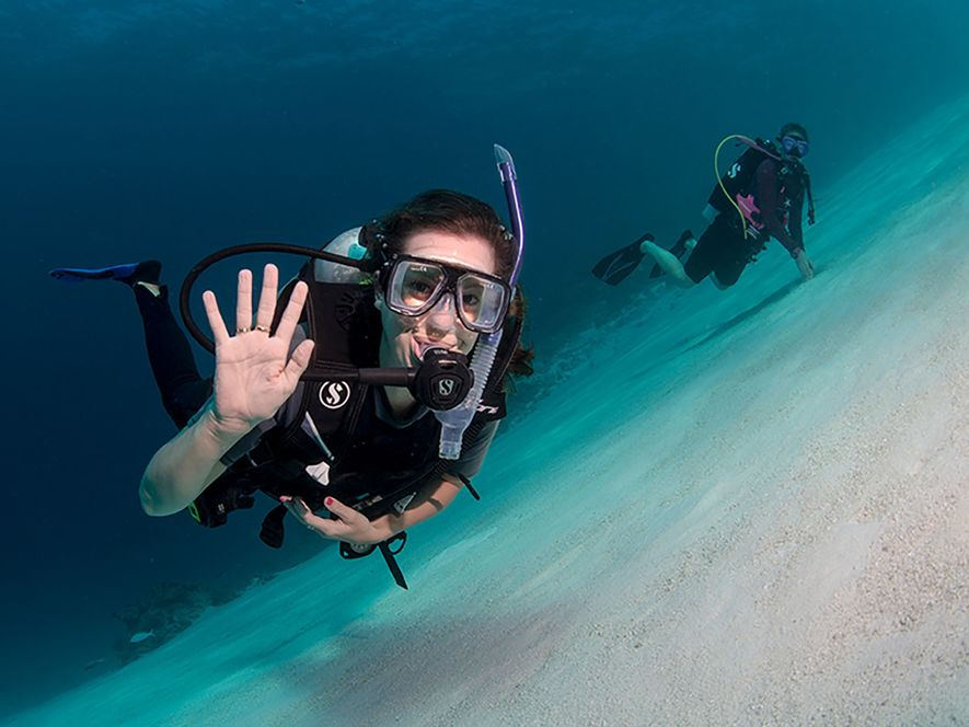 Two divers at the bottom of the ocean