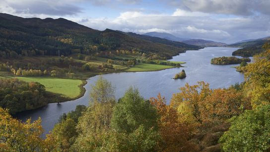 The Highlands in autumn, seen from the Queen's View above Loch Tummel.