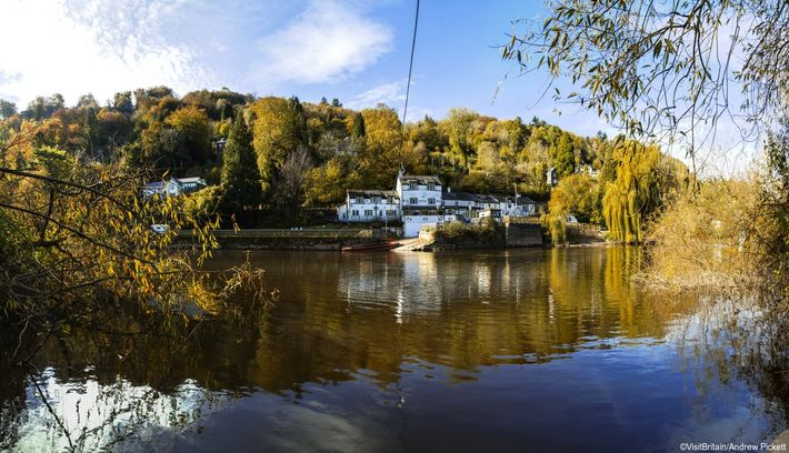 On the banks of the River Wye in the Forest of Dean, the village of Symonds ...
