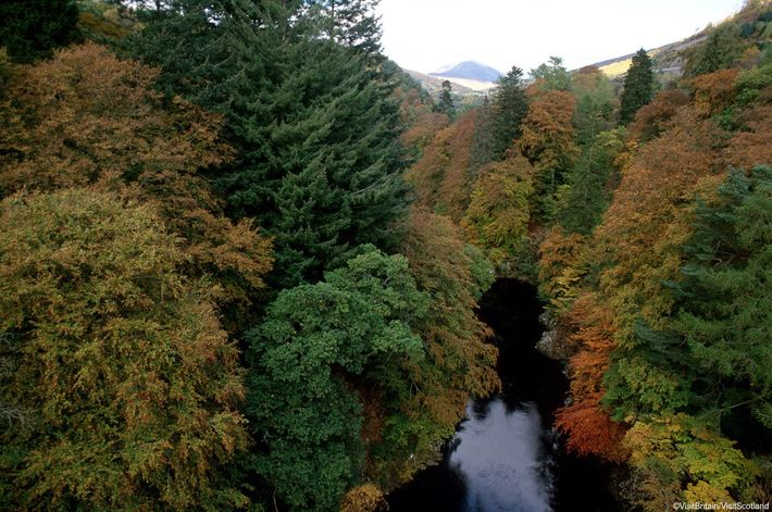 Looking along the River Garry at the Pass of Killiecrankie, where William III was beaten by ...
