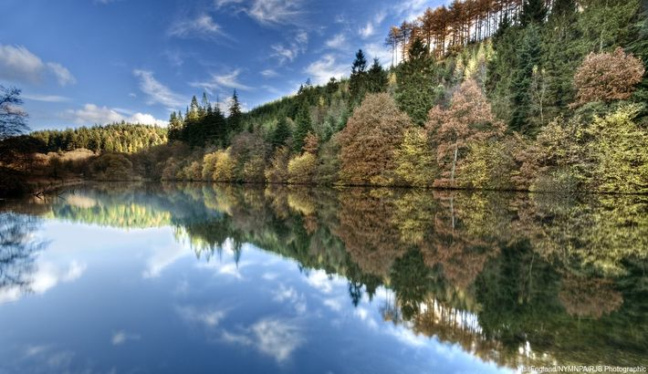 The reflection in Staindale Lake doubles the delight of autumn in Dalby Forest.