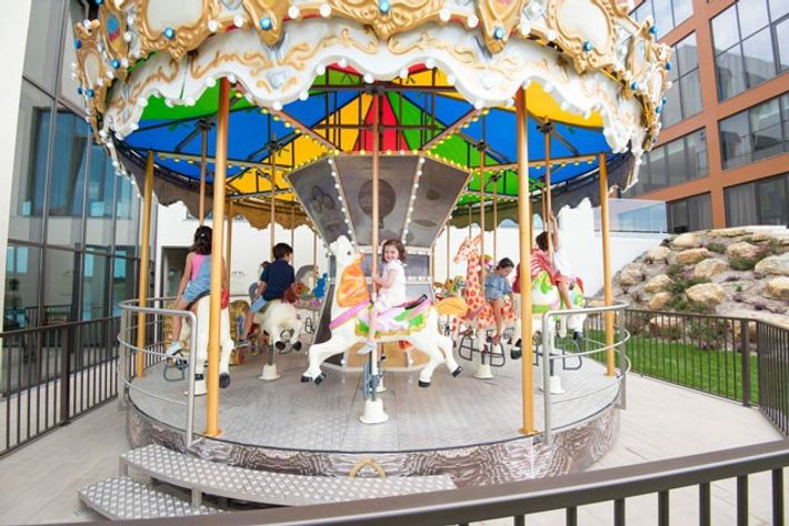 A carousel keeps children entertained