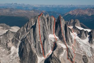 The linked-up route marked in red on the west faces of the Howser Towers.