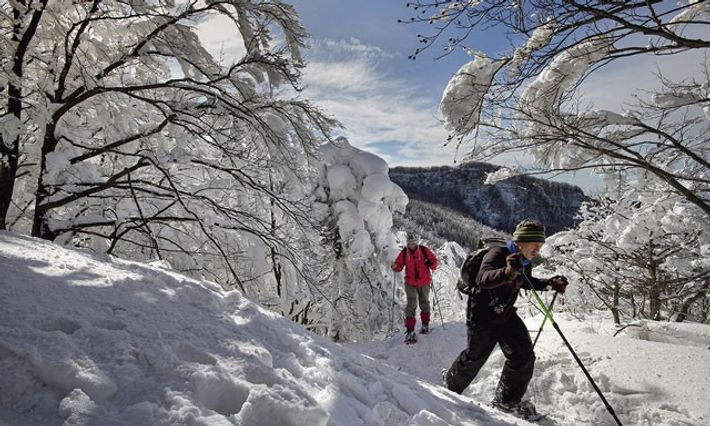Snowshoeing in Tuscany.