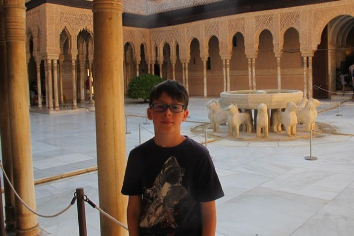 Zac in front of the Fountain of the Lions. Image: Fiona Flores Watson