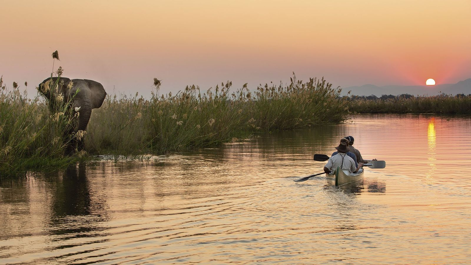 Kayaking on the Zambezi at sunset.